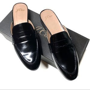 J. Crew Academy Penny-Loafer Mules Patent Leather